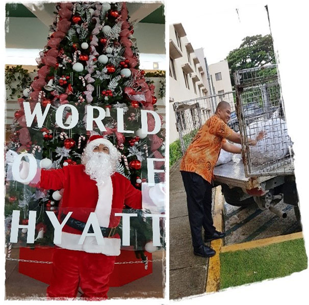 photos of santa claus in front of a huge christmas tree and a man unloading from a truck